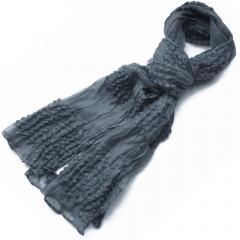 Pashmina gris de algodon con detalles en lana