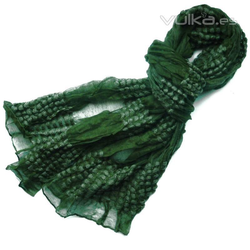 Pashmina verde de algodon con detalles en lana