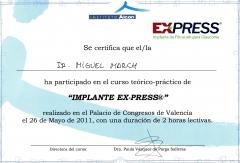Diploma curso te�rico-pr�ctico de implante express de filtraci�n para glaucoma. valencia, mayo 2011.