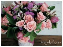 Ramo silvestre en tonos rosas en un jarron artesanal de patchwork mayula flores