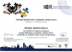 Diploma congreso cirug�a refractiva y catarata: update 2012. icr. barcelona. 17-02-2012.