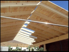 Techo de madera para cochera. www.aluminiomadera.com
