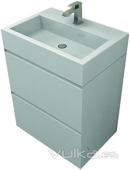 Foto matt co mueble de ba o en laca blanca entrega for Mueble bano 50 cm ancho