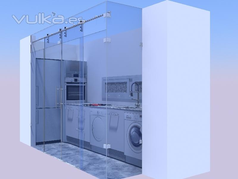 Foto cerramiento con cristal en cocina for Cerramientos de vidrio para interiores