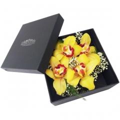 Original caja de orquideas, una forma de enviar flores a domicilio que sorprenderá.