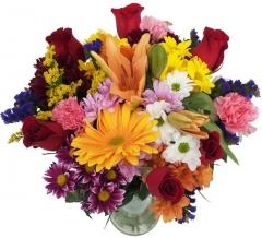 Ramo de flor multicolor y rosas. enviar y regalar flores a domicilio con la mejor floristería.