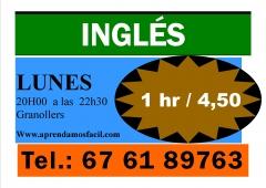 Clases de inglés 1 hr / 4,50 eur - lunes granollers