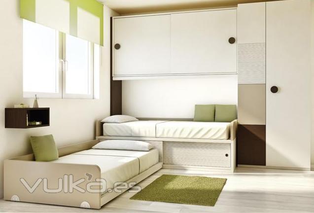Foto dormitorio juvenil con altillo y 2 camas for Dormitorio juvenil 2 camas