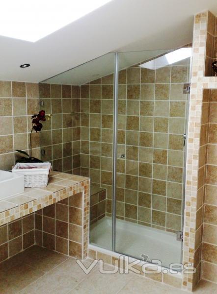 Baño Debajo De Escalera Con Ducha:Mampara de ducha Abatible