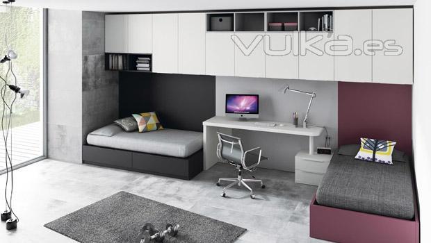Foto dormitorio juvenil diferente con dos camas for Dormitorios juveniles dos camas