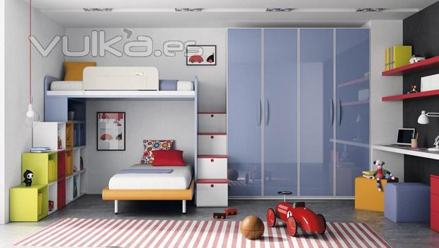 Foto muebles de dormitorio juvenil con dos camas del for Dormitorios juveniles dos camas