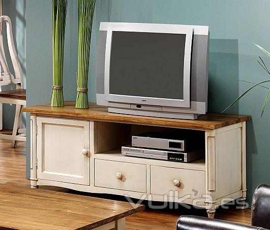 Foto Mueble de Televisión Bonanza Blanco Patinado y Madera Olmo
