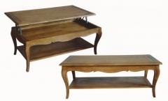 Mesa de centro elevable decó roble envejecido. estilo vintage francés.