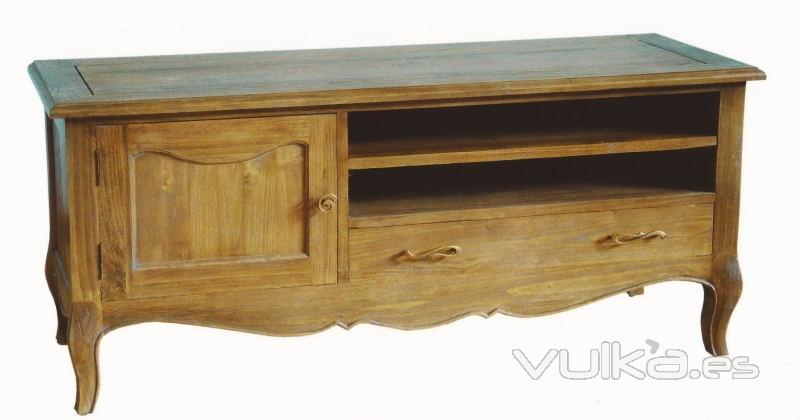 Foto mueble de televisi n 130 roble envejecido estilo for Muebles estilo frances online