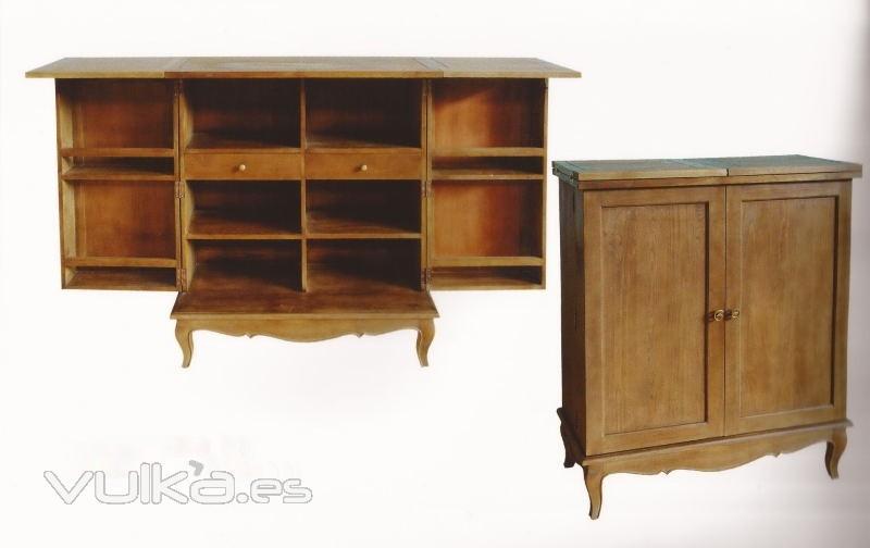 Foto mueble bar dec roble envejecido estilo vintage for Muebles estilo frances online