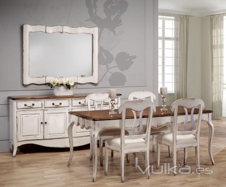 Ambiente de comedor chantal blanco roto decapado y madera - Muebles antiguos de comedor ...