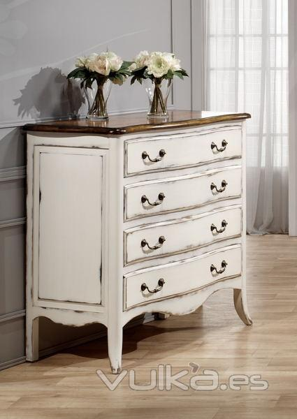 Foto c moda 4 cajones chantal blanco roto decapado y madera olmo estilo vintage franc s - Como restaurar muebles ...