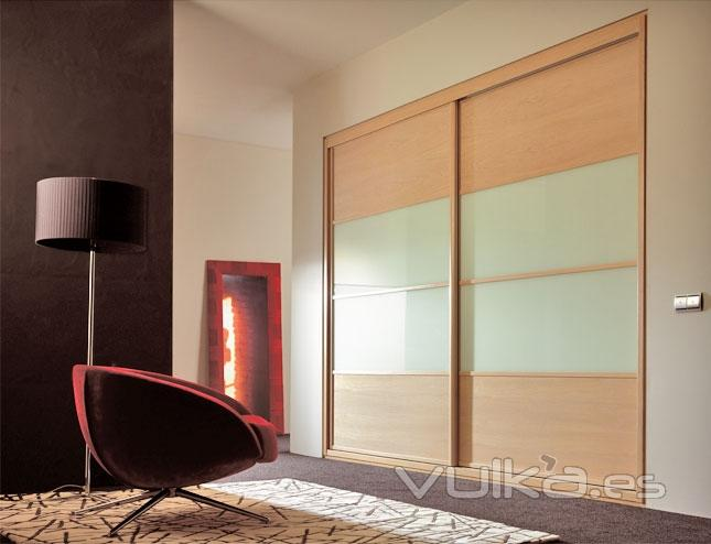 Foto armario con 2 puertas correderas melamina roble - Puertas de cristal para armarios ...