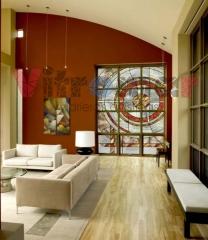 Vidriera de dise�o abstracto para ventanal con 12 divisiones