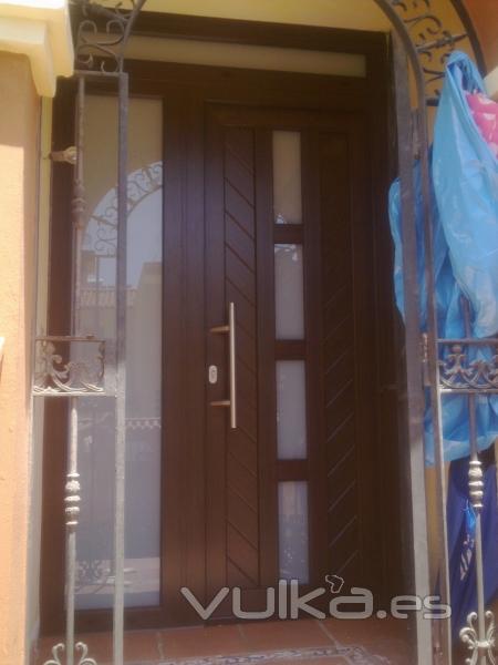 Foto puerta de entrada pvc color roble oscuro con vidrio for Puertas de entrada con vidrio