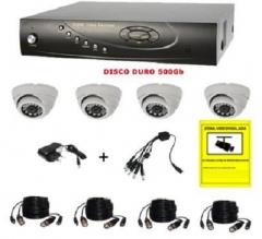 Kit 4 cámaras sony con videograbador + disco duro 500 gb