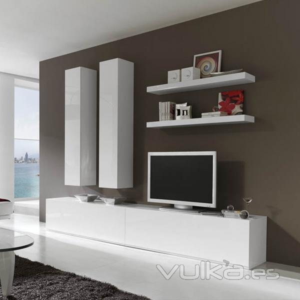 Foto modular de salon moderno lacado en blanco - Muebles lacados en blanco brillo ...