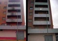 Limpieza de manchas de aceite en fachada