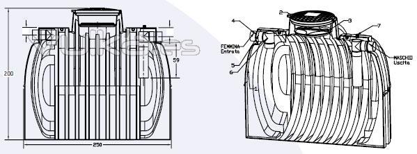 Fosa Séptica para 25 Heq, de 5.000 litros de capacidad