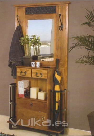 Foto recibidor perchero r stico mexicano - Mueble recibidor rustico ...