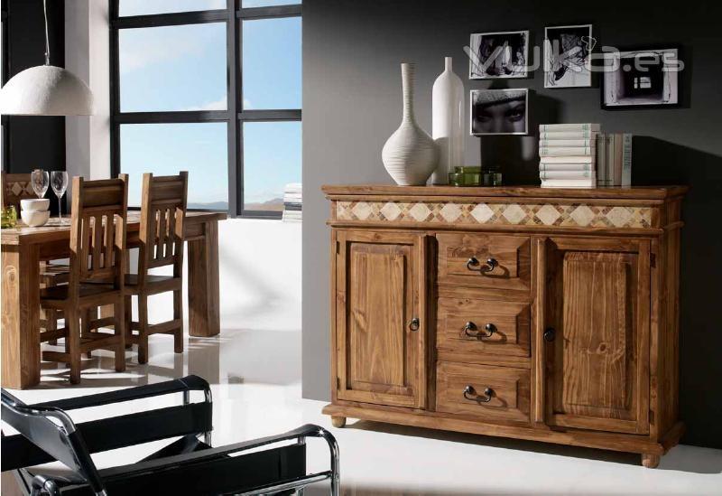 Foto mueble aparador rustico mexicano con marmol for Muebles rusticos baratos