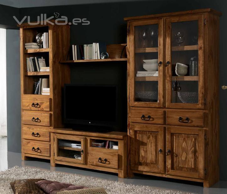 Foto mueble modular para el sal on rustico mexicano - Mueble rustico para tv ...