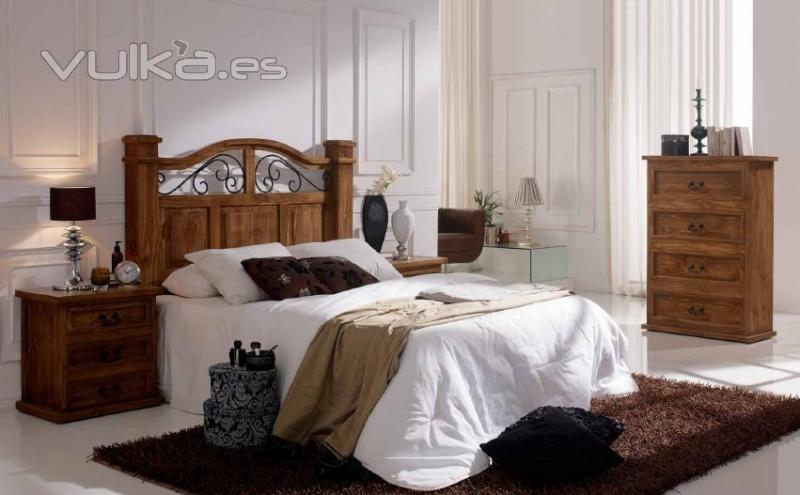 Foto mueble de dormitorio rusticos mexicanos con cabezal for Dormitorios rusticos ikea