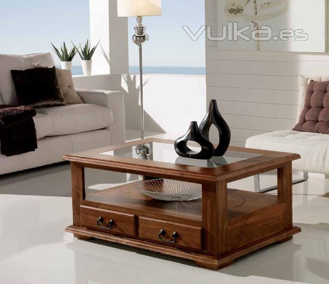 Foto mesa de centro con cristal rusticas mexicanas - Mesas de centro rusticas ...
