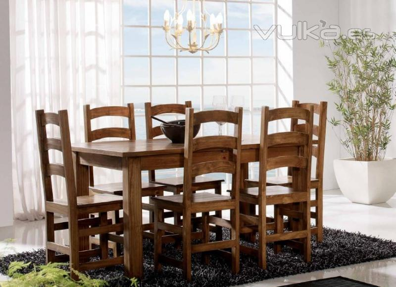 Foto mesa ce comedor extensible rustica mexicana en for Mesa cocina madera maciza