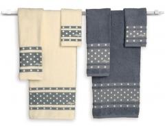 Juego de toallas con bodoques bordados en relieve, 6 piezas, muy amplias.