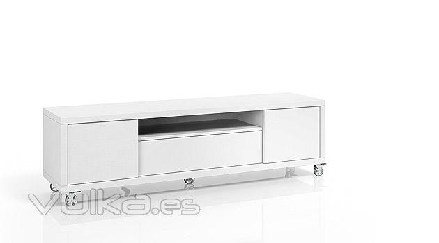 Foto mueble bajo para tv en color blanco for Mueble para tv blanco