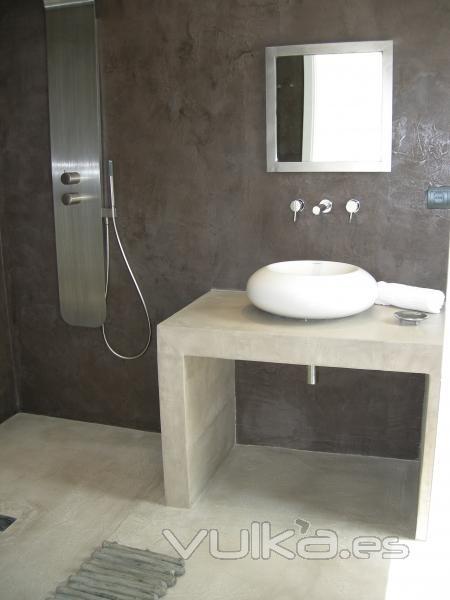 Foto cemento pulido mineral deco en suelo paredes y - Banos de cemento pulido ...