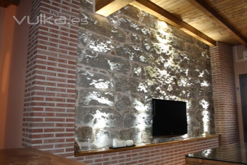 Foto pared de piedra del sal n - Pared piedra salon ...