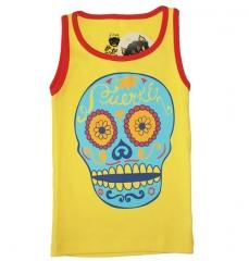 Camiseta tirantes rockera beb� ni�o ni�a con estampado calavera amarilla de la marca be lucky kid