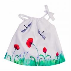 Vestido tirantes para beb� y ni�a en algod�n hecho y pintado a mano de la marca Le Petit Mammouth