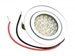 Lámpara de leds empotrable c-0810c de 8 a 24v cc de color blanco cálido con 30 leds de 5 mm y 1,8w.