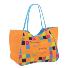 Bolsas de playa. bolsa playa summer cuadros cremallera naranja en la llimona home