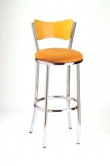Taburete mod. t-17. asiento tapizado y respaldo en madera. cromado.