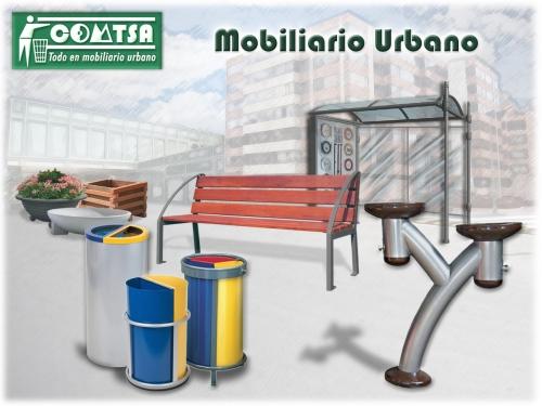 Mobiliario urbano, mobiliario urbano papeleras, mobiliario urbano bancos.