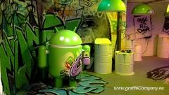 Decoraci�n con graffiti tradicional el stand de android en el mwc de 2012 (barcelona)
