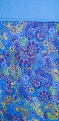 Chal, foulard reversible de seda natural y viscosa turquesa. 70x180 cm