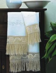 Juego de toallas ,rustica  de tela de algodon y con flecos