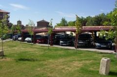 Marquesina aparcamiento cubierta de teja en segovia