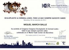 Diploma congreso c�rnea y oculopl�stica. icr. nov. 2011. barcelona.