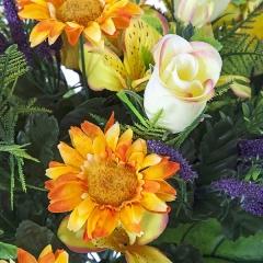 Ramos artificiales. ramo flores artificiales naranja margaritas rosas en la llimona home (1)
